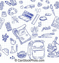 doodles, skola, 2, seamless, baksida