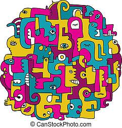 doodles, sobre, américa latina
