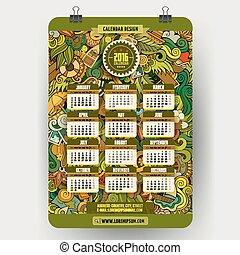 Doodles summer Calendar 2016 year design