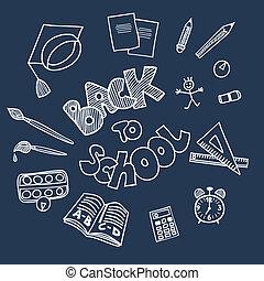 doodles, szkoła, wstecz, zaopatruje
