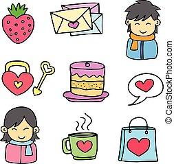 doodles, tema, vettore, amore, oggetto