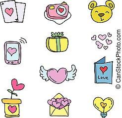 doodles, tema, vettore, amore