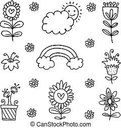 doodles, thema, illustratie, lente
