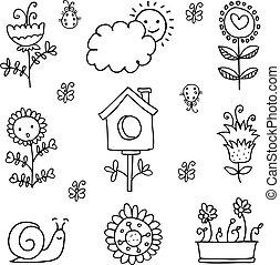 doodles, thema, verzameling, lente