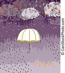 doodles, tiempo lluvioso, día, cartel