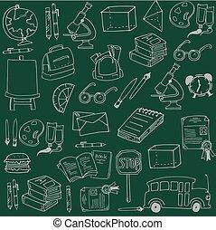 doodles, trekken, opleiding, school, hand