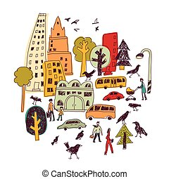 Doodles urban city life birds street isolate color objects white.