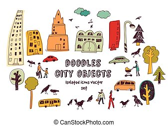 Doodles urban city life isolate objects color set on white.