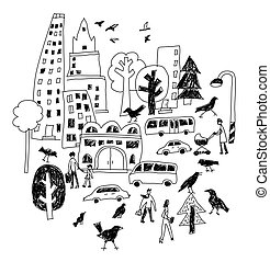 Doodles urban city life street isolate black and white objects.