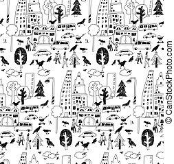 Doodles urban city life street objects black seamless pattern.