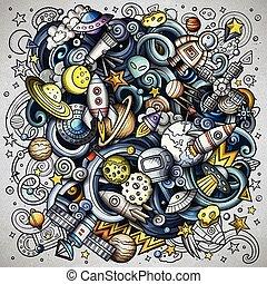 doodles, vecteur, dessin animé, espace illustration
