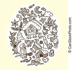doodles, vecteur, fée-conte, caractères