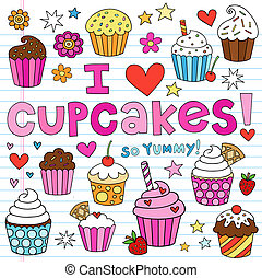 doodles, vector, conjunto, cupcakes