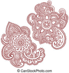 doodles, vector, ontwerp, henna, bloem