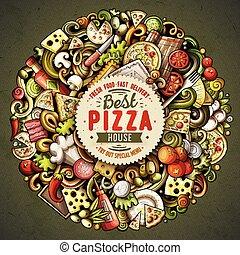 doodles, vector, spotprent, illustratie, pizza