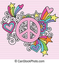 doodles, vector, vrede, aantekenboekje, meldingsbord