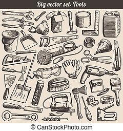 doodles, vektor, állhatatos, eszközök