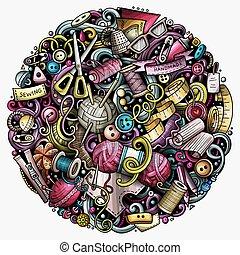 doodles, vektor, handgjord, tecknad film, illustration