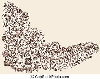 doodles, vektor, henna, mehndi
