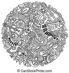 doodles, vektor, musik, karikatur, abbildung