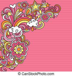 doodles, vektor, psychedelisch, notizbuch