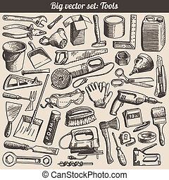 doodles, vektor, satz, werkzeuge