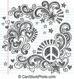 doodles, vetorial, amor, paz