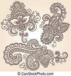 doodles, vettore, set, henné, quaderno