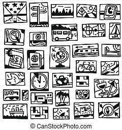 doodles, viagem, -