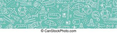 doodles, viagem, borda, seamless, horizontais
