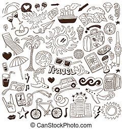 doodles, viagem, -, cobrança