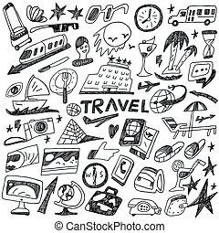 doodles, viagem, jogo, -