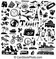 doodles, viagem, jogo