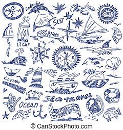doodles, viagem, -, mar