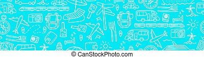 doodles, viagem, seamless, padrão horizontal
