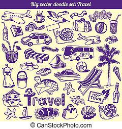 doodles, viagem, vetorial, cobrança
