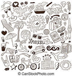 doodles, voyage, -, collection