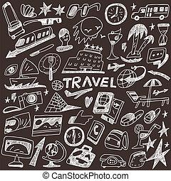 doodles, voyage, ensemble, -
