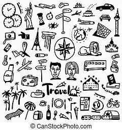 doodles, voyage, ensemble