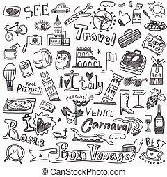 doodles, voyage, italie
