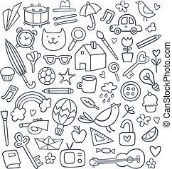 doodles, wektor, komplet, 50
