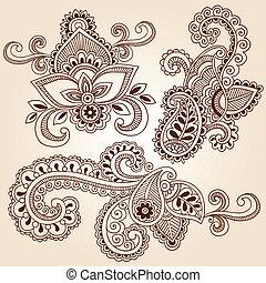 doodles, wektor, komplet, henna, notatnik