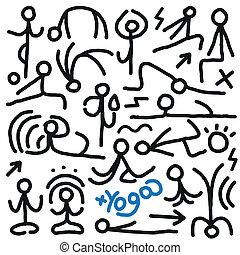 doodles, yoga