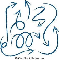 doodles, zeichnung, von, pfeile, in, blaues, farbe