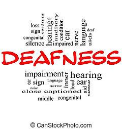 doofheid, woord, wolk, concept, in, rood, &, black
