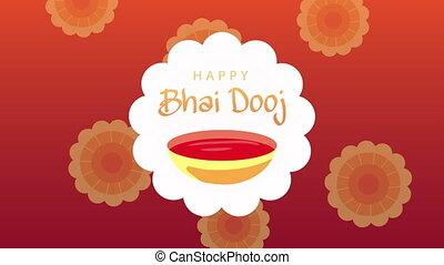 dooj, lettrage, célébration, heureux, bhai, peinture, ...