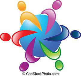 dookoła, 6, wektor, teamwork, świat, logo