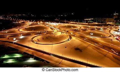 dookoła, crossroads, noc, ruch, szosa, zima