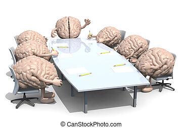 dookoła, dużo, ludzki, głowa, stół, spotkanie