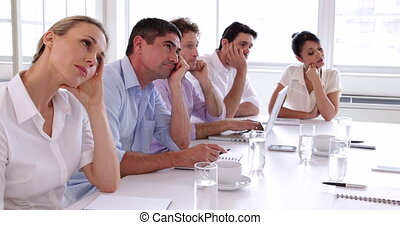 dookoła, handlowy, posiedzenie, t, drużyna, nudzić